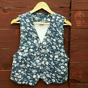 Vintage 90's Blue Floral Denim Vest